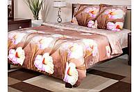 """Комплект постельного белья хлопковый полуторный коричневый с каллами """"Луиза"""""""