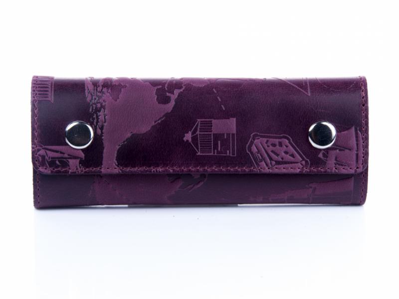 """Ключниця шкіряна для довгих ключів з карабінами Shabby """"7 чудес світу"""". Колір фіолетовий"""