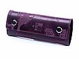"""Ключниця шкіряна для довгих ключів з карабінами Shabby """"7 чудес світу"""". Колір фіолетовий, фото 2"""