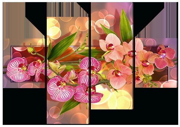 Модульная картина Interno Холст Разные орхидеи 106х71см (R539S)