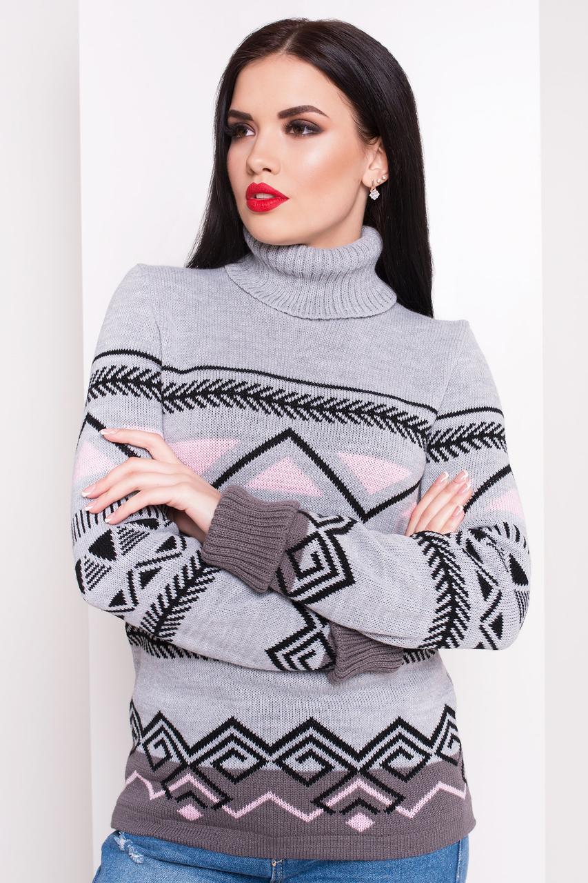Женский теплый вязаный свитер Слойка(светло-серый, розовый, капучино, черный)