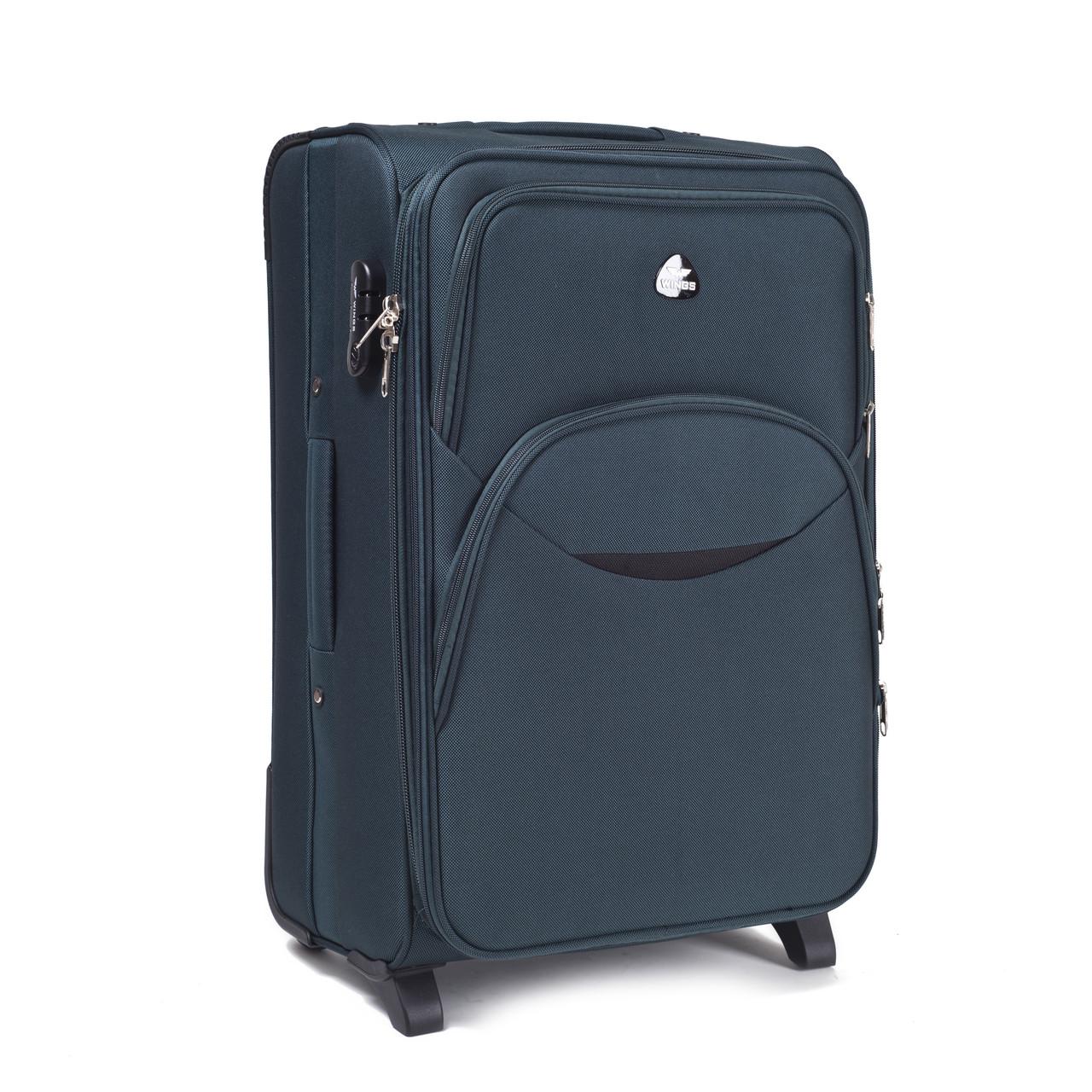 Малый тканевый чемодан Wings 1708 на 2 колесах зеленый