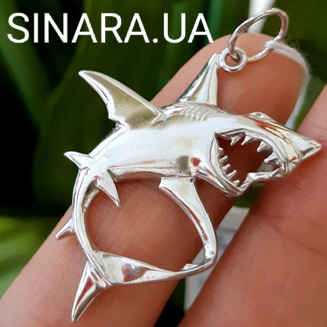Кулон Акула серебро 925 - Серебряный кулон Акула - Мужской кулон Акула - Подвеска Акула серебряная