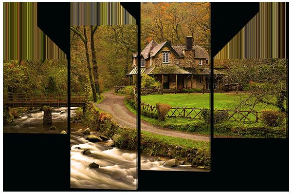 Модульная картина Interno Холст Домик реки 106х71см (R523S)