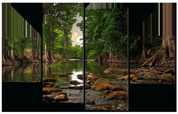 Модульная картина Interno Эко кожа Лесная река 126х85см (A544M)