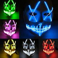 Оригинал! Светящаяся маска (LED mask). Супер качество! Маска на Хэллоуин от прямого дистрибьютора, фото 1