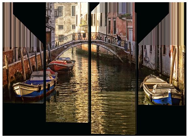 Модульная картина Interno Эко кожа Канал в Италии 126x93см (A507М)