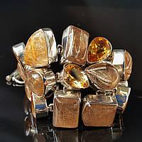 Браслет крупный яркий с натуральным цитрином и рутиловым кварцем (волосатиком). Серебро Индия