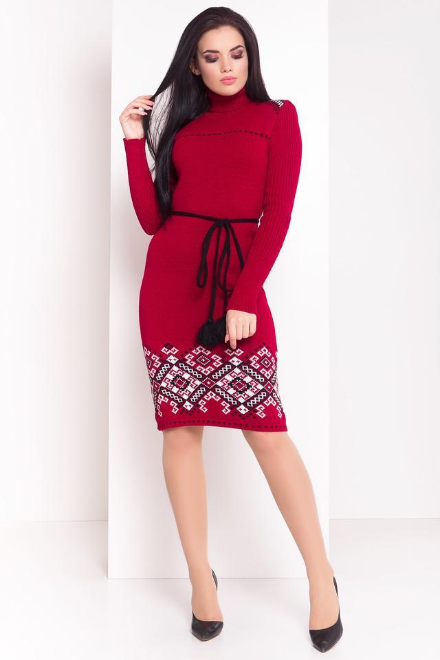 Платье вязаное Иванка вишня-белый