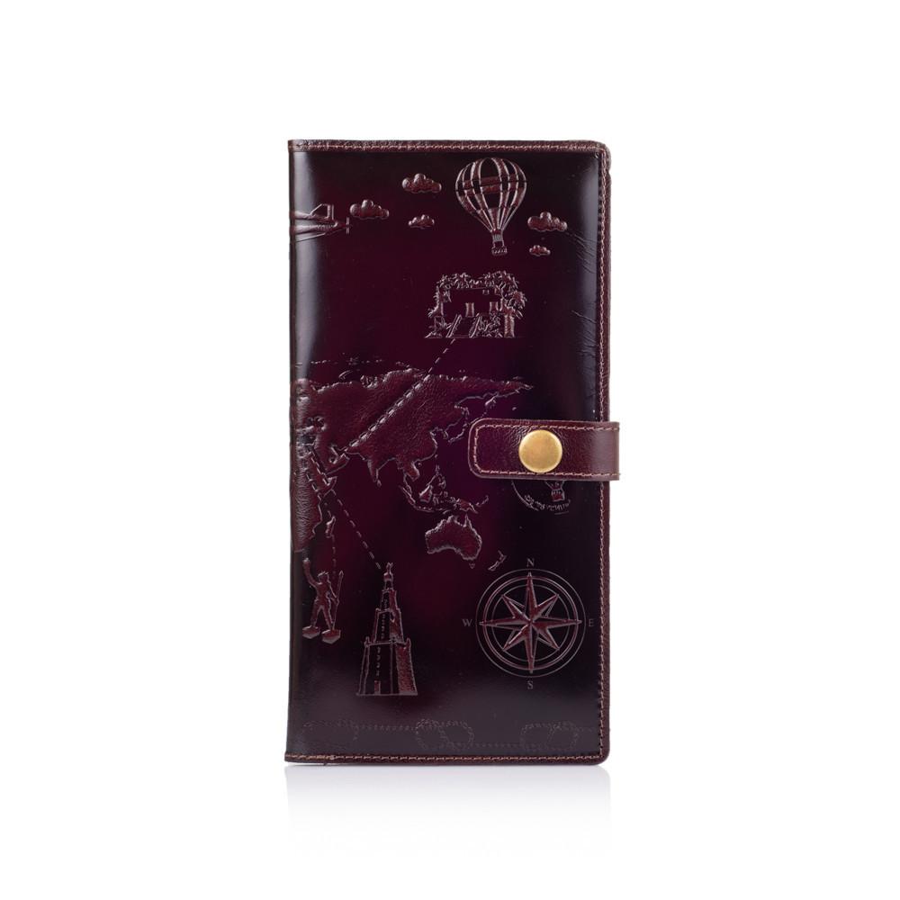 """Тревел-кейс для документів шкіряний на кнопці Crystal """"7 чудес світу"""". Колір коричневий"""
