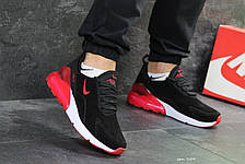 Мужские кроссовки Nike Air Max 270,замшевые,черные с красным, фото 3