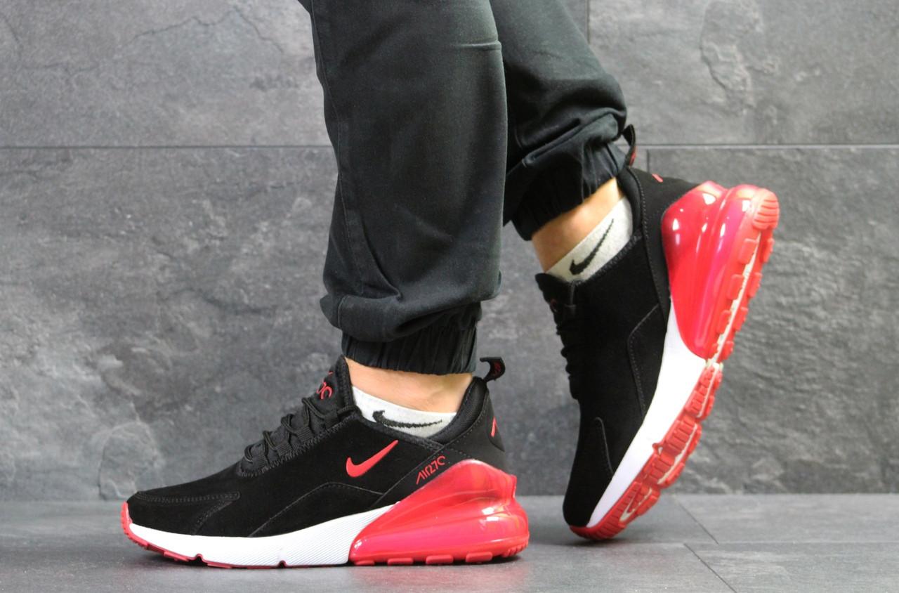 Мужские кроссовки Nike Air Max 270,замшевые,черные с красным