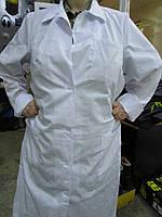 Халат женский белый с длинными рукавами ткань халатная 35% хб пл 145 гр.м.кв
