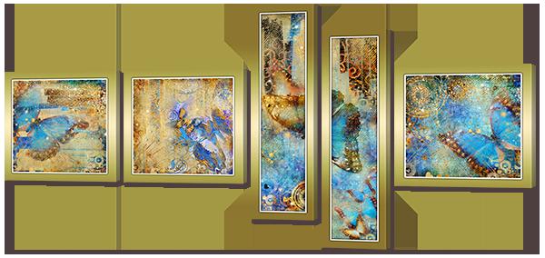 Модульная картина Interno Холст Абстрактные бабочки 148х74см (R757M)