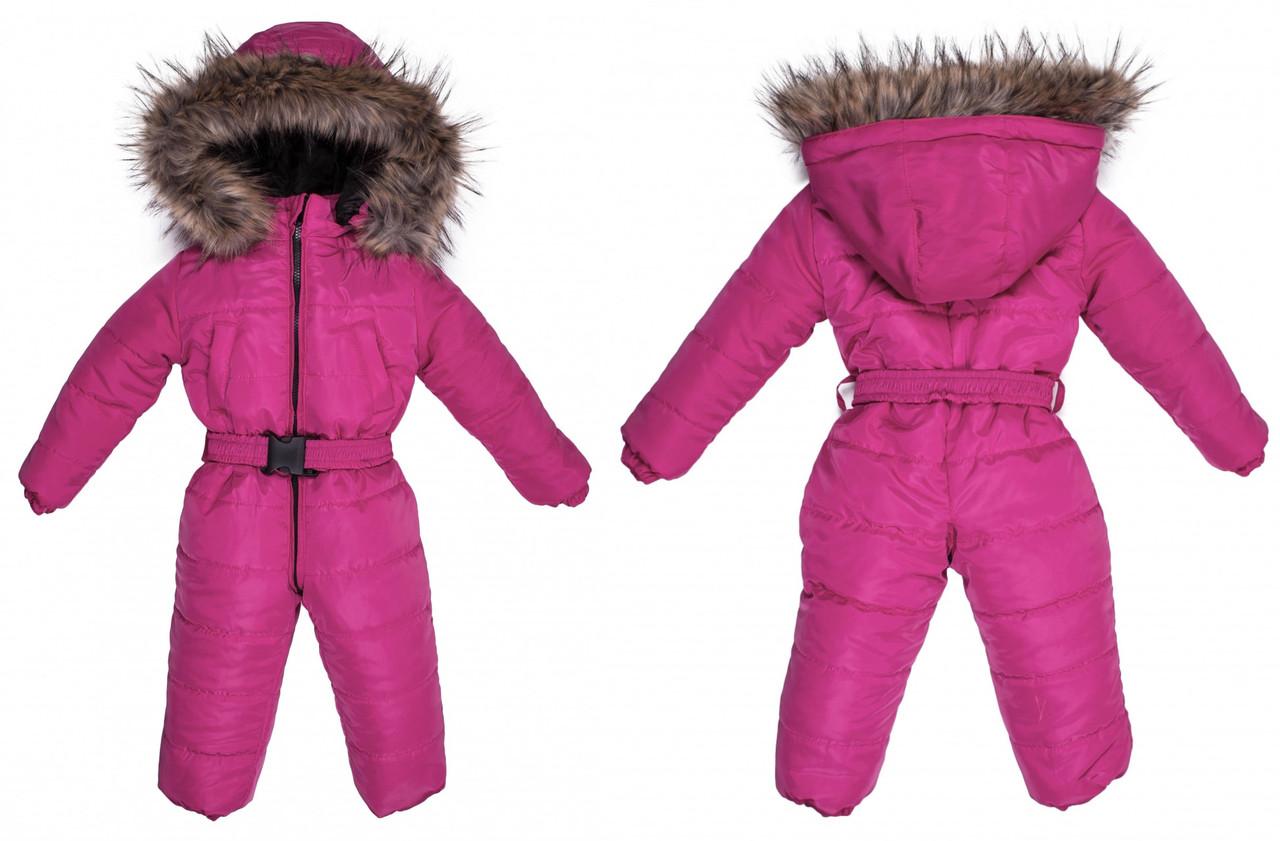 Детский зимний комбинезон Пусик Малыш с пушком 86 см (12-18 месяцев) (Малиновый)