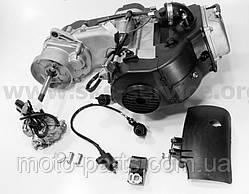 Двигатель скутерный в сборе 4Т-80куб (короткий вариатор, длинный вал) + карбюратор, коммутатор, катушка зажига