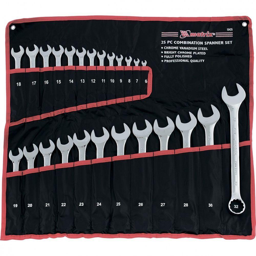 Набор ключей комбинированных 6-32 мм  25 шт CrV  полированный хром. Mtx 15425