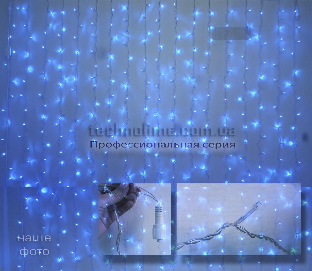 РАСПРОЖАДА! Уличная профессиональная гирлянда Штора 2х2 метра, прозрачный кабель, синий цвет, ip65
