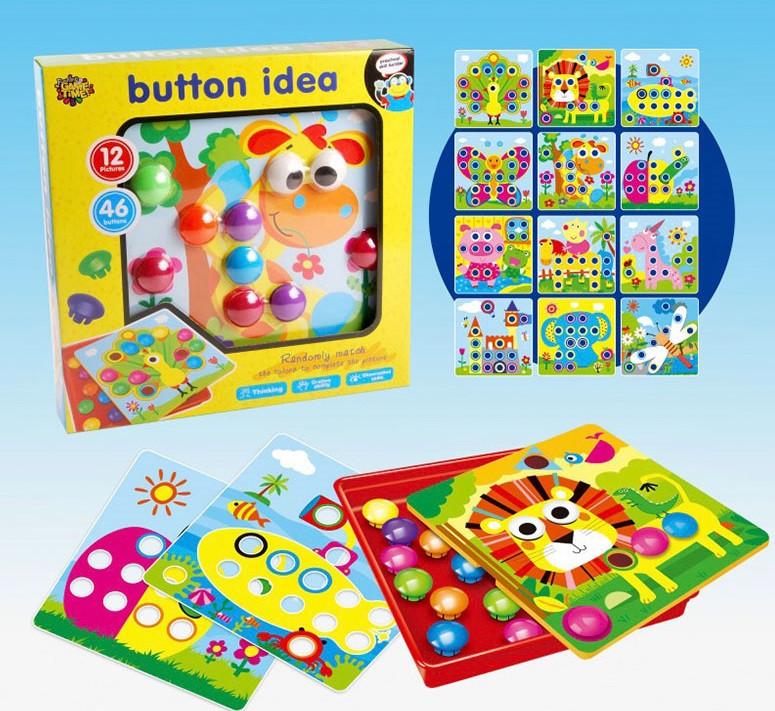 Мозаика для малышей Button Idea 808-7 крупные вкладыши 12 картинок