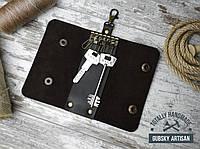 Ключница чехол для ключей 6 Карабинов натуральная кожа коричневая, фото 1
