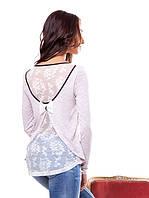 Женская кофточка с гипюровой спинкой (L-2XL), фото 1
