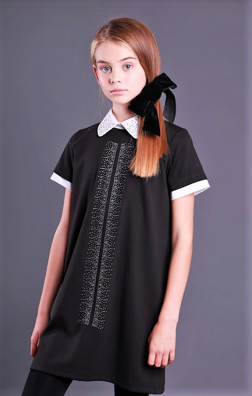 Школьное платье с белым воротником (черное) Моне р-р 146