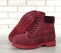 Женские зимние ботинки Timberland с шерстяным мехом (dark red), фото 1