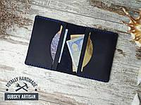 Кредитница  мини кошелек карт холдер из натуральной кожи синяя, фото 1