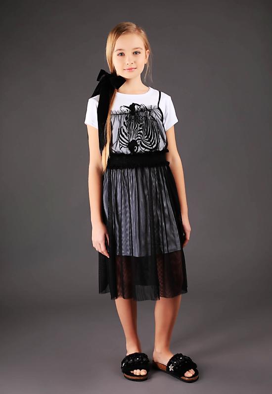 Платье-туника с черным платьем р-ры 146