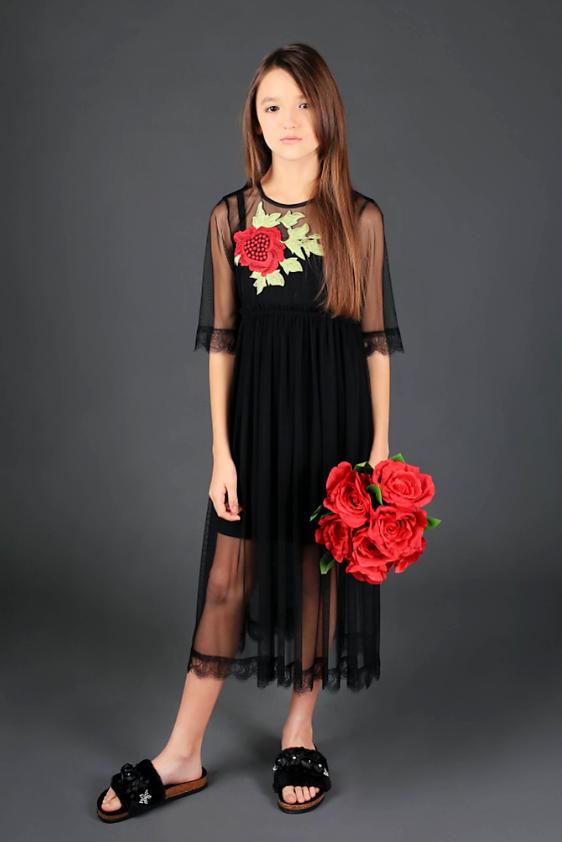 Черный сарафан с платьем сеткой Моне р-ры 140,146