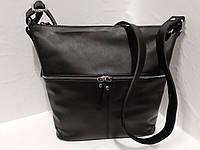 9dc56f686308 Женская кожаная чорная сумка на длином ремешке через плече на два отделения  спереди карман на молнии