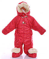 Детский комбинезон-трансформер зимний 0-2 года Красный (10_красный со звездами)