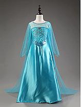 Карнавальное платье Эльзы со шлейфом для девочки 3-9 лет 120