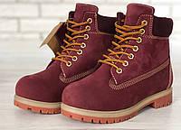Женские зимние ботинки Timberland с шерстяным мехом (red), фото 1