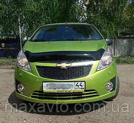 Мухобойка +на капот  Chevrolet SPARK HB, 2010-, темный (Шевроле Спарк) SIM