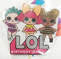 """Большая Свеча (7см) с картинкой """"Куклы ЛОЛ"""" (3 куколки / групповая) LOL Birthday girl"""