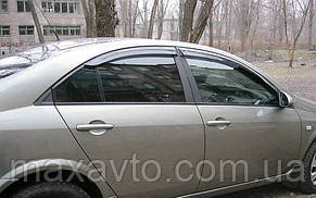 Дефлекторы боковых стекол Nissan Primera Sd (P12) 2002 (Ниссан Примера) Cobra Tuning