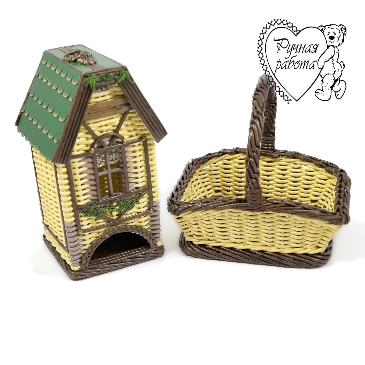 Под заказ Плетеный набор чайный домик и  конфетница корзинка ручной работы