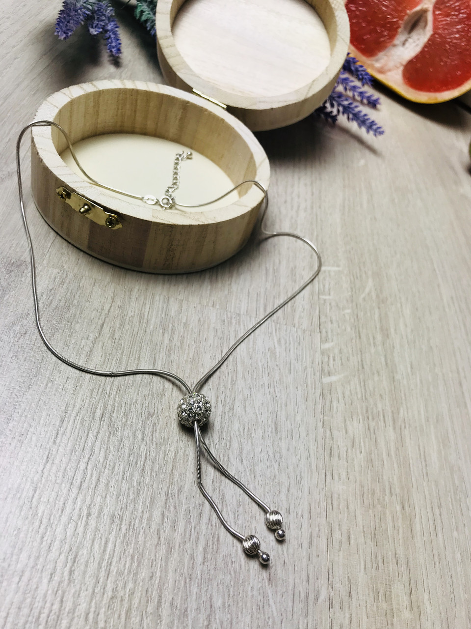 Серебряная цепочка с шармом