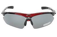Очки RockBros черно-красные, поляризованные, со сменными линзами, фото 1
