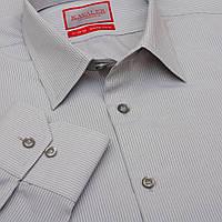 Мужская рубашка с длинным рукавом серая в полоску