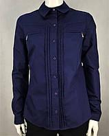 Рубашка женская стильная классическая синяя на пуговицах с длинным рукавом