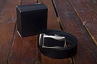 Мужской кожаный ремень с застежкой автомат (отличное качество), фото 1