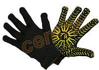 Перчатки рабочие вязаные  х.б. с ПВХ точкой 7-й класс, рукавички в'язані бавовняні з ПВХ крапкою солнце