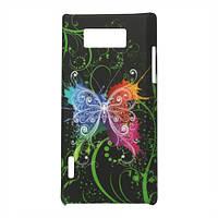 "Чехол пластиковый на LG Optimus L7 P705, P700, ""Colorized Butterflies"" матовый"