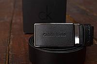 Мужской кожаный ремень Calvin Klein с застежкой автомат (отличное качество)