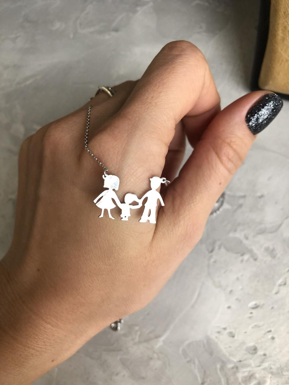 Кулон из серебра Мої прикраси Семья 2+1 покрыт родием