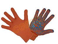 Перчатки рабочие вязаные  х.б. с ПВХ точкой, рукавички в'язані бавовняні з ПВХ крапкою, звезда