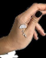 Кулон из серебра Beauty Bar девушка с зонтиком родированый, фото 1