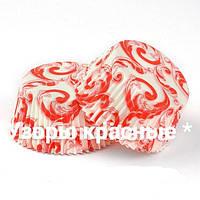 Форма бумажная тарталетка для кексов  белая с узором 10шт